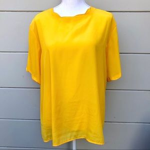 Sara Stephen yellow short sleeve blouse
